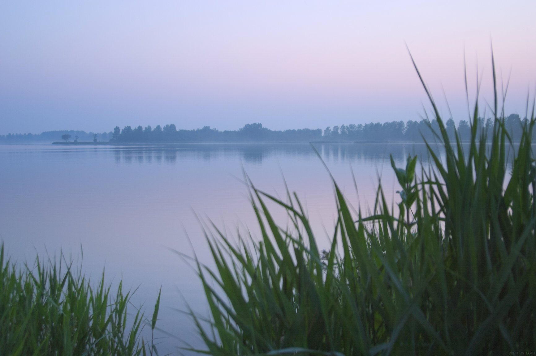 Tranquil lake in early morning