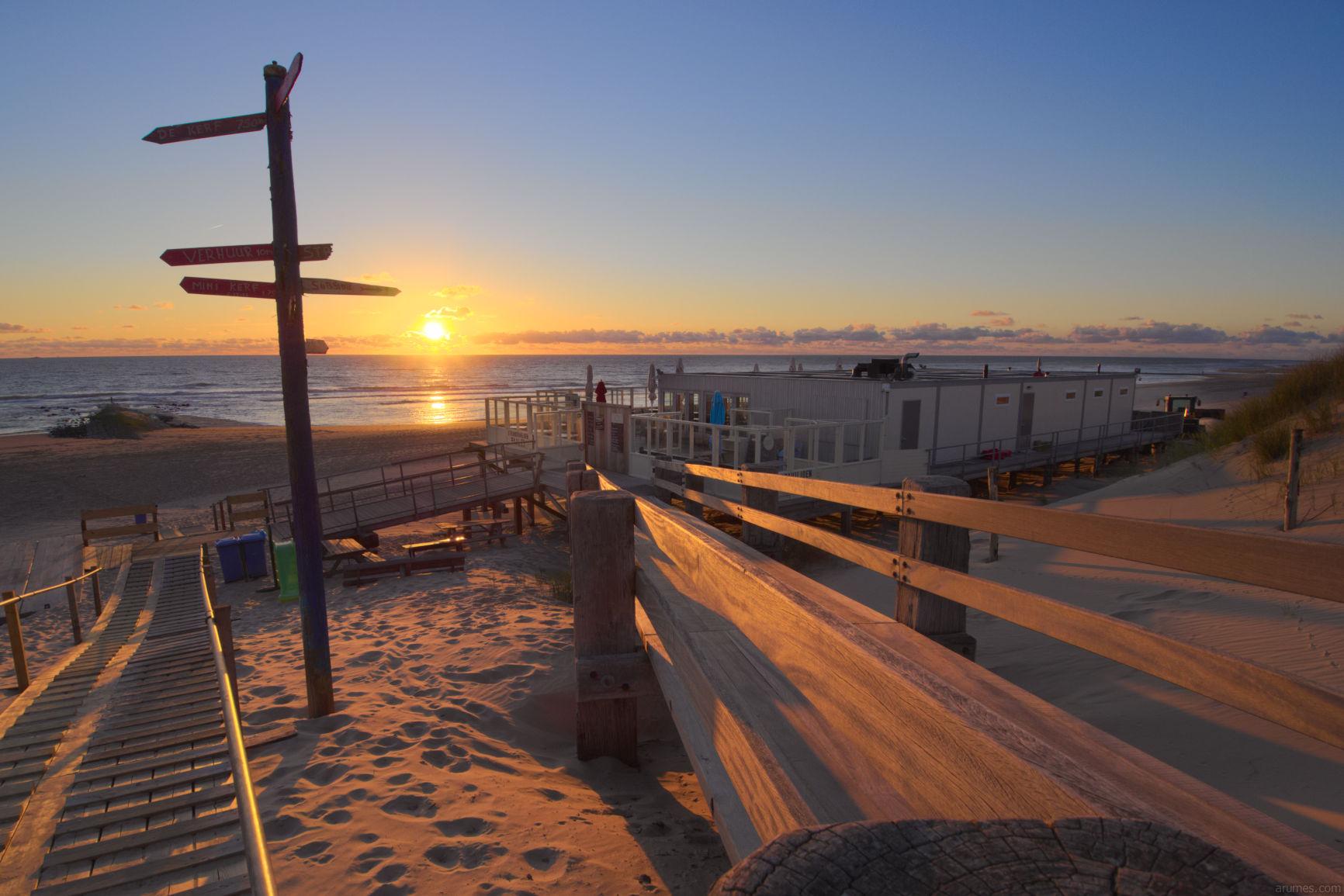 beach club with sunset