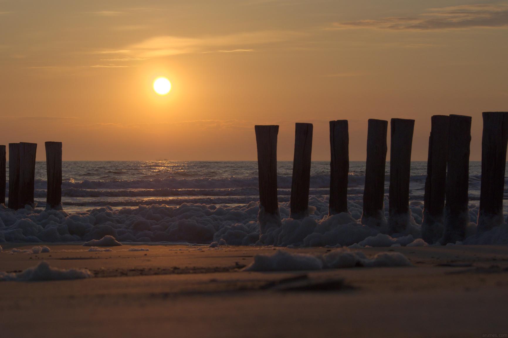Breakwater at sunset